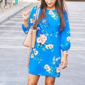 Ann Taylor Blue Floral Puff Sleeve Dress NWT
